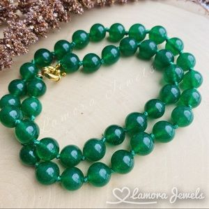 Green Jade Beaded Necklace Natural Gemstone